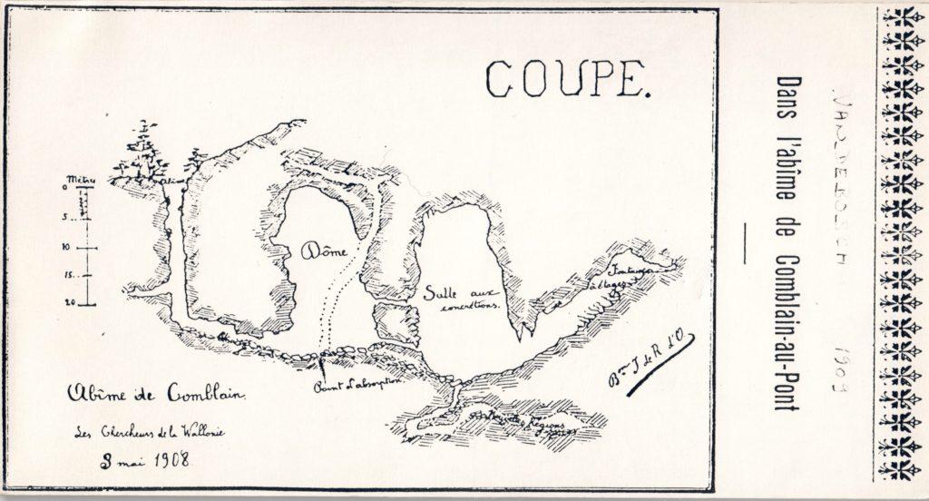 Grotte de Comblain Plan Vandebosch 1909